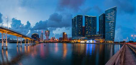 Macau cityscape of bridge and skyscraper photo