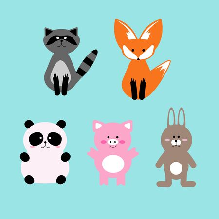 Vector illustration set of cute and funny cartoon pet characters. Racoon, Fox, Panda, Pig and Rabbit