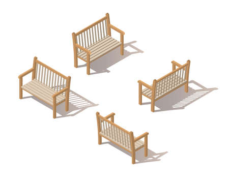 Outdoor park bench. Wooden bench isolated on white background. Isometric vector illustration. The element of the Park or grove. Illusztráció