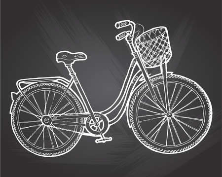 Bicycle Vector. Vintage bike isolated on chalkboard background. Hipster bike hand drawn vector illustration
