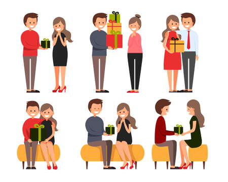 Front, side, back view animated character. Designer character creation set with various views. Cartoon style, flat vector illustration of smiling boy and girl with with presents.Happy couple in love. Illusztráció