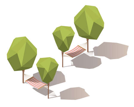 Isometric hammock between two trees. Vector isometric illustration with shadows.