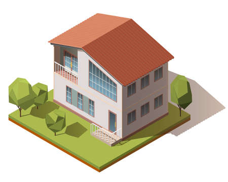 Vector isometric infographic element representing suburban building. House isometric vector icon. Isometric image of a private house.