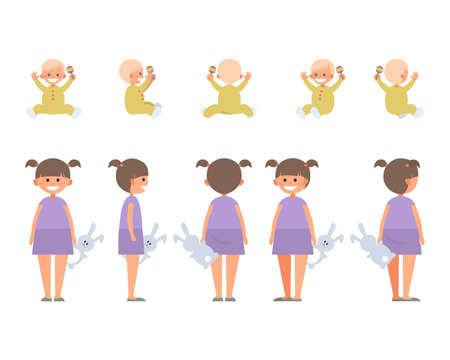 Front, side, back view animated character. Designer character creation set with various views. Cartoon style, flat vector illustration of smiling little girl and child in casual clothes.
