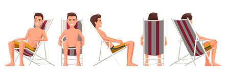 Illustrazione vettoriale di uomini in pantaloncini in chaise longue. Persone realistiche dei cartoni animati. Giovane piatto. Ragazzo vista frontale, vista laterale, vista laterale posteriore, vista isometrica. Uomo magro che prende il sole sulla sedia a sdraio
