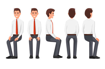 Vector illustration of sitting men in official clothes under the white background. Cartoon realistic people. Flat young man. Front view man, Side view man, Back side view man, Isometric view.