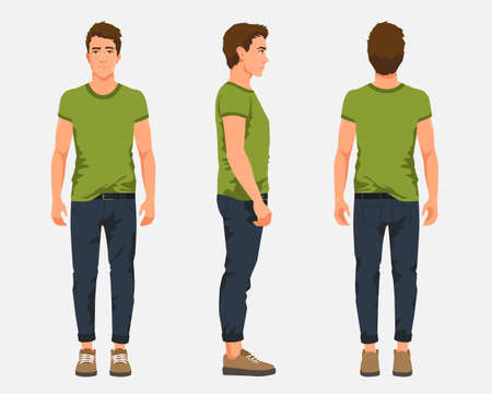 Vector illustration of three men in casual clothes under the white background. Cartoon realistic people illustartion. Flat young man. Front view man, Side view man, Back side view man Illusztráció