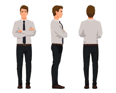 Vector illustration of three business men with crossed arms in official clothes. Cartoon realistic people illustartion.Worker in a shirt with a tie.Front view man,Side view man,Back side view man