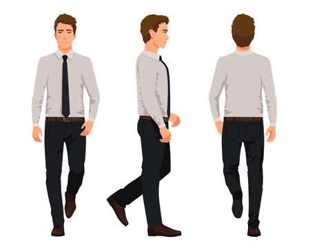 Ilustración de vector de tres hombres de negocios caminando en ropa oficial. Caricatura, realista, gente, illustartion., Trabajador, en, un, camisa, con, un, tie., Vista frontal, hombre, vista lateral, hombre, vista trasera, hombre Ilustración de vector
