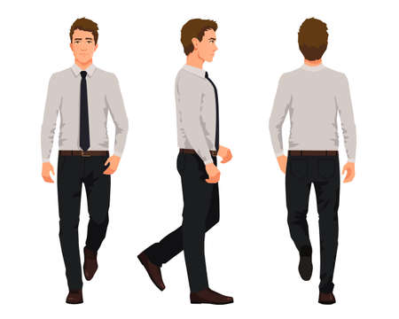 Vector illustration of three walking business men  in official clothes. Cartoon realistic people illustartion.Worker in a shirt with a tie.Front view man,Side view man,Back side view man 矢量图像