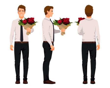 Ilustracja wektorowa trzech biznesmenów z bukietem kwiatów w ręce. Ilustracja kreskówka realistyczne ludzi. Pracownik w koszuli z krawatem. Widok z przodu człowieka, widok z boku człowieka, widok z tyłu człowieka. Róże. Ilustracje wektorowe