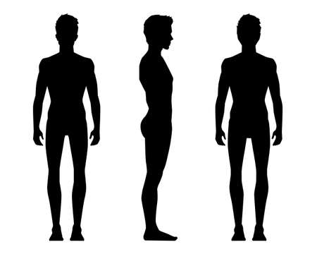 Illustration vectorielle de trois hommes sillouettes sur fond blanc. Illustration de personnes réalistes de dessin animé de vecteur. Jeune homme de silhouettes. Homme vue de face, Homme vue de côté, Homme vue de côté arrière