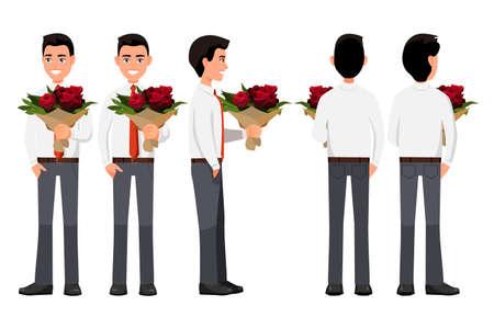 Illustration vectorielle des hommes d'affaires avec bouquet de fleurs en mains. Illustration de personnes réalistes de dessin animé. Travailleur dans une chemise avec une cravate. Homme vue de face, homme vue latérale, homme vue arrière. Jeune homme plat