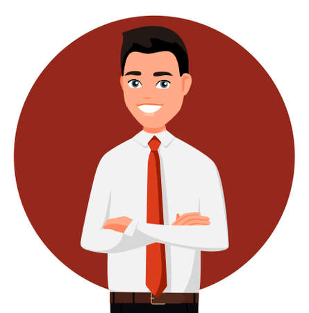 Smiling man in official clothes with arms crossed. Vector illustration in cartoon style. Realistic people. Flat young man. Front view man.