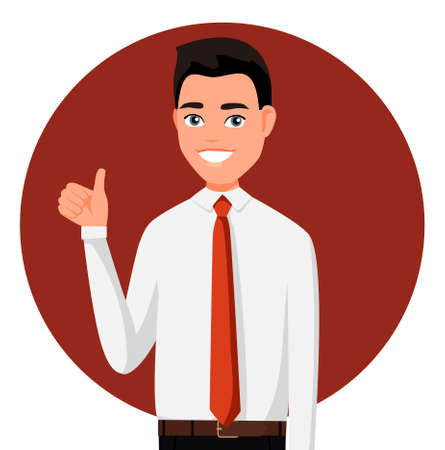 Smiling man in official show thump up for agreement sign with success business concept. Vector illustration in cartoon style. Realistic people. Flat young man. Front view man.