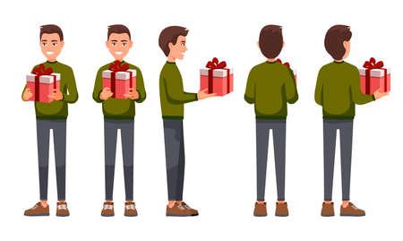Illustration vectorielle des hommes avec présent dans les mains dans des vêtements décontractés. Illustration de personnes réalistes de dessin animé. Homme en pull de Noël rouge traditionnel. Vue de face, vue de côté, vue de côté arrière, isométrique. Vecteurs