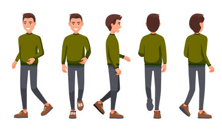 Vector illustration of walking men in casual clothes under the white background. Cartoon realistic people set. Flat young man. Front view man, Side view man, Back side view man, Isometric view. Stock fotó - 110694647