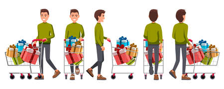 Vector illustration of walking men in casual clothes under the white background. Cartoon realistic people set. Flat young man. Front view man, Side view man, Back side view man, Isometric view. Illusztráció