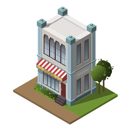 Pretty nice city isometric buildings isolated with shadows. Nice two-storey street cafe or shop. Flat stock vector illustration. Vector isometric shop for game. Isometric retail store concept for app.