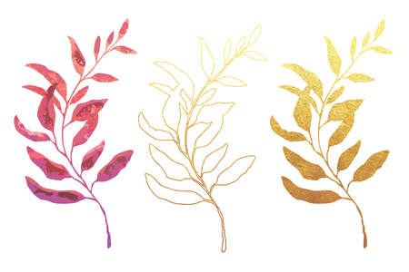 Vector designer elements set collection of  natural leaves herbs in watercolor style. Decorative beauty elegant illustration for design. Light gold leaves. Golden outline of a branch Illusztráció