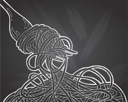 Chinese Noodles and fork on chalkboard background, Asian food icon . Hand drawing doodle vector