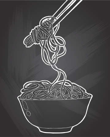 Chinese Noodles, Asian food icon . Vector icon.Bowl of noodles with a pair of chopsticks icon thin line . Vector white contour icon on  on chalkboard background. Illustration