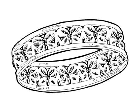 Ring sketch. Hand drawn ring jewelry. Ring with diamond in sketch style vector illustration