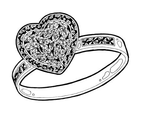 Ring with heard hape diamond sketch. Hand drawn ring jewelry. Ring with diamond in sketch style vector illustration Ilustração