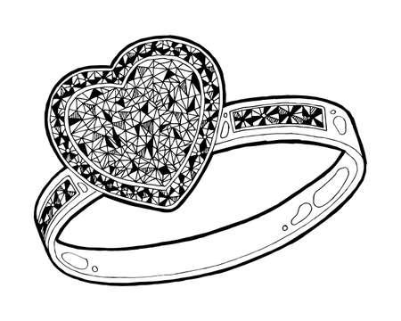 Ring with heard hape diamond sketch. Hand drawn ring jewelry. Ring with diamond in sketch style vector illustration Illusztráció