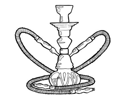 Shisha, hookah hand drawn doodle vector.Illustration isolated on white foe hookah bar or lounge. vector illustration of hookah with smoking pipe, hubble bubble, oriental bar.
