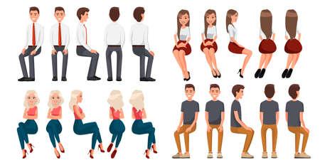 Duży zestaw siedzących ludzi. Mężczyźni w ciuchach codziennych i oficjalnych, kobieta w czerwonej spódnicy i białej bluzce, kobieta w ciuchach codziennych. Realistyczni ludzie z kreskówek. Płaski młody człowiek. Widok z przodu, Widok z boku