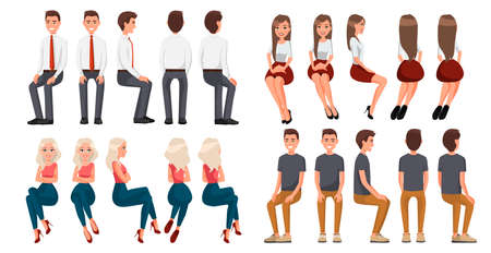 Big set of sitting people. Men in casual clothes and official clothes, woman in red skirt and a white blouse, woman in casual clothes . Cartoon realistic people. Flat young man. Front view, Side view