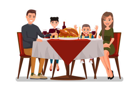 Christmas & Thanksgiving inspired Holiday card with happy family celebrating Thanksgiving day. Turkey at the table. Vector flat design family. Holiday weekend illustration for poster, card, banner.