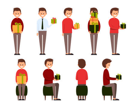 Front, side, back view animated character. Designer character creation set with various views. Cartoon style, flat vector illustration of smiling boy with short hair in casual clothes with presents.