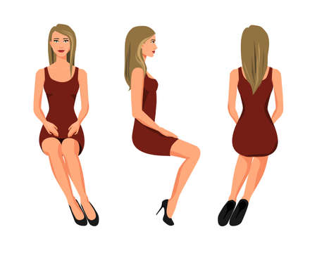 Vector illustration of three sitting girl in red dress under the white background. Cartoon realistic  people illustration. Flat young woman. Front view girl, Side view girl, Back side view girl Illusztráció