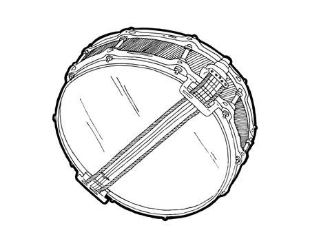 Snare drum  sketch drawing isolated on white background. Hand drawing vector illustration. Drum doodle vector, bottom view