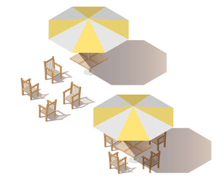 Isometric yellow umbrella with empty table and chairs. Stock fotó - 114462776