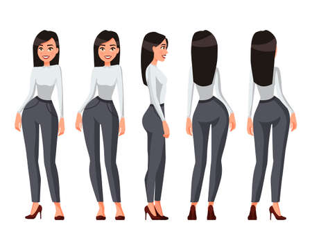 Vector illustration of a girl with long hair in casual clothes under the white background.Cartoon realistic people illustration.Flat young woman.Front, side and back views. Stock fotó - 114463063