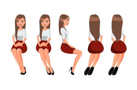 Ilustración de vector de mujer sentada en falda roja y una blusa blanca bajo el fondo blanco. Ilustración de gente realista de dibujos animados. Mujer joven plana. Chica de vista frontal, Vista lateral, Parte trasera