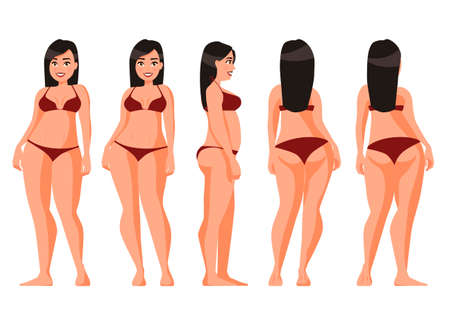 Vector illustration of women in underwear on the white background.Vector cartoon realistic people illustration. Flat young woman. Front view girl, Side view, Back side view , Isometric view. Fat girl