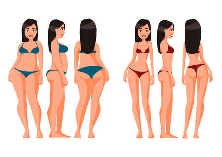 Vector illustration of fat and slim women in underwear. Vector cartoon realistic people illustration. Flat young woman. Front view girl,Side view, Back side view , Isometric view. Losing weight.