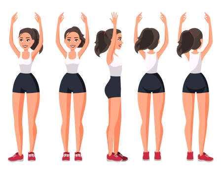 Vector illustration of  sportive woman in sportswear with hands up .Cartoon realistic people illustration. Flat young woman. Front view girl, Side view ,Back side view , Isometric view. Illusztráció