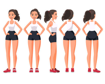 Vector illustration of sportive woman in sportswear with hands on hips .Cartoon realistic people illustration. Flat young woman. Front view girl, Side view ,Back side view , Isometric view. Training