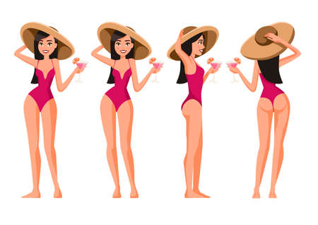 Vector illustration of women in swimsuit with hat and cocktail. Cartoon realistic people. Flat young woman. Front view girl, Side view, Back side view. Happy slim girl on vacation.