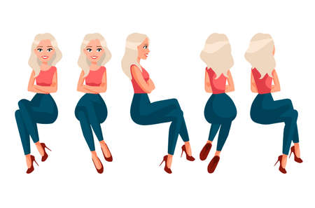 Ilustración de vector de mujer sentada en ropa casual bajo el fondo blanco. Ilustración de gente realista de dibujos animados. Mujer joven plana. Chica de vista frontal, Vista lateral, Parte trasera Ilustración de vector