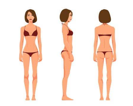 Illustration vectorielle de trois fille en sous-vêtements sur fond blanc. Illustration vectorielle de personnes réalistes de dessin animé. Jeune femme plate. Fille vue de face, Fille vue de côté, Fille vue de côté