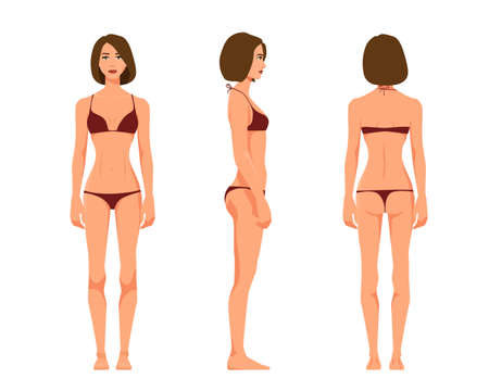 Vector illustration of three girl in underwear on the white background.Vector cartoon realistic people illustration. Flat young woman. Front view girl, Side view girl, Back side view girl