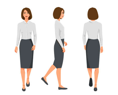 Vector illustration of three walking business woman  in official clothes. Cartoon realistic people illustartion.Flat young woman.Front view girl,Side view girl,Back side of girl Illusztráció