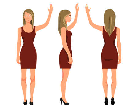 Vector illustration of three girl in red dress with hand up under the white background. Cartoon realistic  people illustration. Flat young woman. Front view girl, Side view girl, Back side view girl