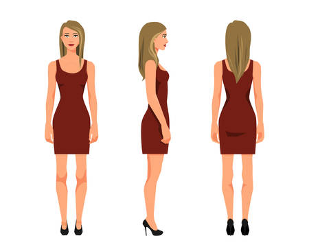 Vector illustration of three girl in red dress under the white background. Cartoon realistic  people illustration. Flat young woman. Front view girl, Side view girl, Back side view girl Illusztráció